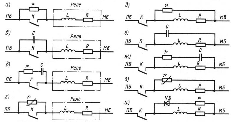 Рис. 5 Схемы искрогашения.  Однако при малом r теряется управляемость контакта, так как при разомкнутом контакте ток...